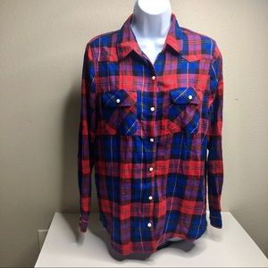 Forever 21 Button Down Red Plaid Flannel Top